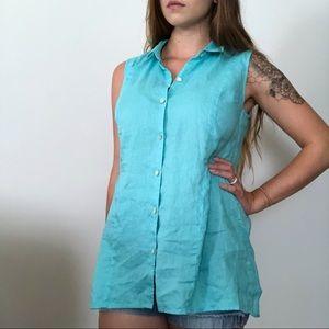 J Jill Blue Button Down Tunic Linen Top Size Small